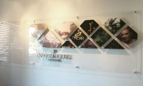 Custom Acrylic Lobby Sign for Fandom House Studio in Riverside, CA.