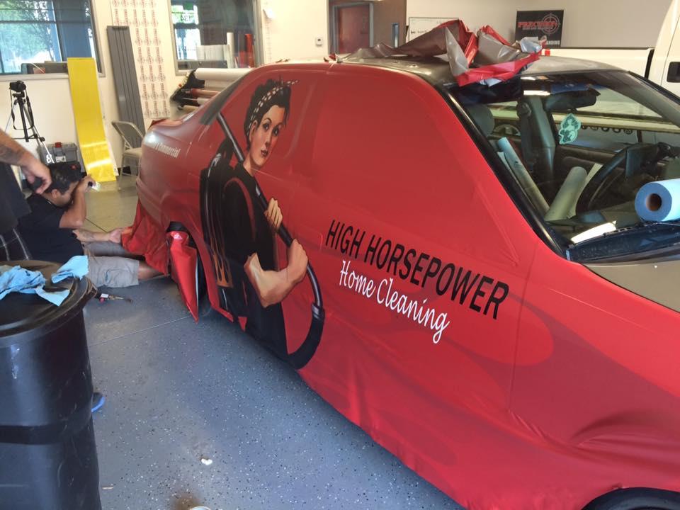 Vehicle Wrap Process - Custom Vinyl Wrap for High Horsepower Home Cleaning Company - Fontana, Rancho, Jurupa, Riverside and Eastvale