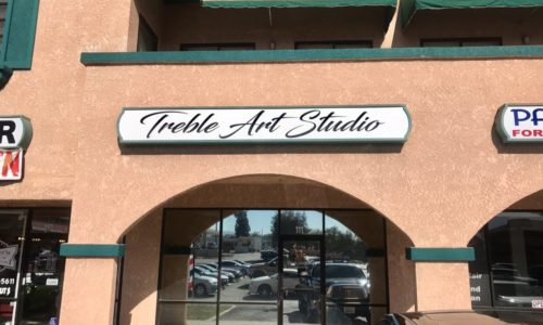 Sign Resurfacing for Treble Art Studio in Corona, CA