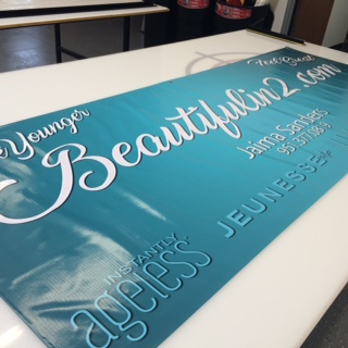 Beautiful Teal Vinyl Banner in Fontana, Rancho, Jurupa, Riverside and Eastvale